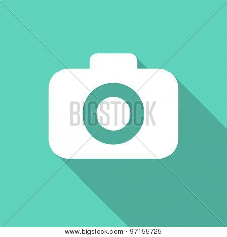 photo camera flat design modern icon with long shadow for web and mobile app