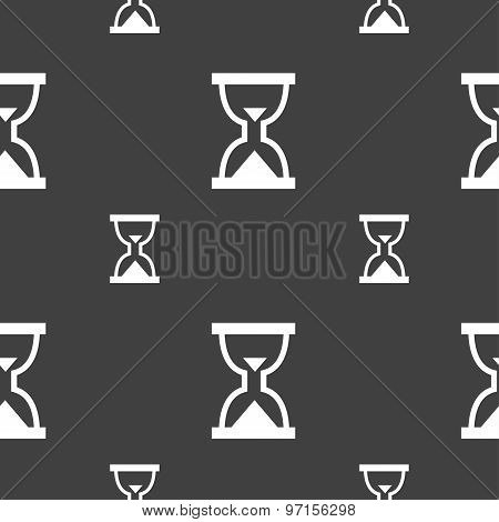 Hourglass, Sand Timer Icon Sign. Seamless Pattern On A Gray Background. Vector