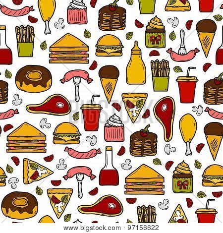 Seamless background with objects on american food theme: fried potato, hot dog, soda, hamburger, san