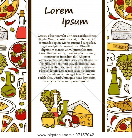 Vector food concept with seamless background and cartoon objects on mediterranean cuisine theme: tom