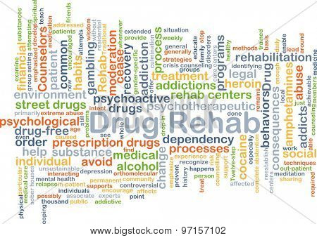 Background concept wordcloud illustration of drug rehab