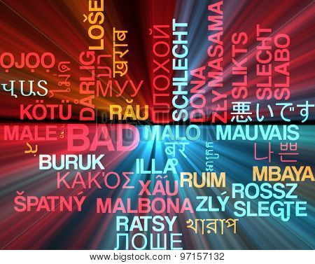Background concept wordcloud multilanguage international many language illustration of bad glowing light