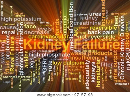 Background concept wordcloud illustration of kidney failure glowing light