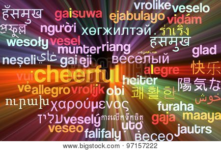 Background concept wordcloud multilanguage international many language illustration of cheerful glowing light