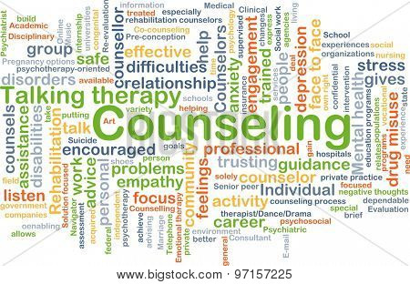 Background concept wordcloud illustration of counseling