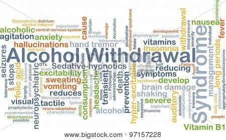 Background concept wordcloud illustration of alcohol withdrawal syndrome