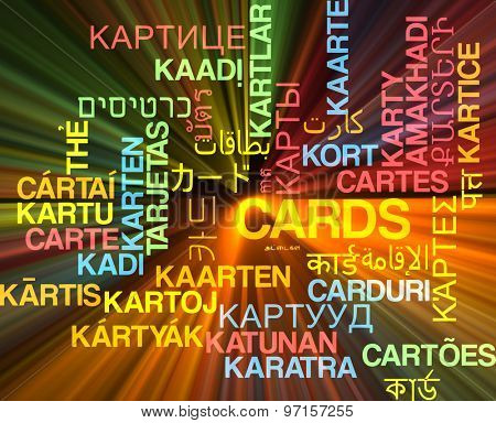 Background concept wordcloud multilanguage international many language illustration of cards glowing light