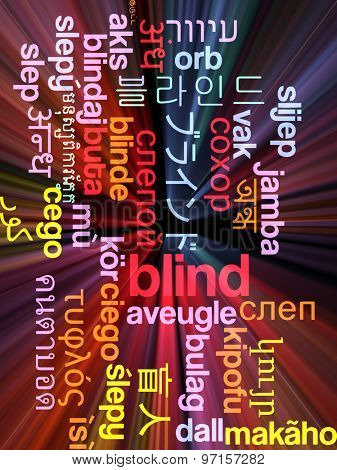 Background concept wordcloud multilanguage international many language illustration of blind glowing light