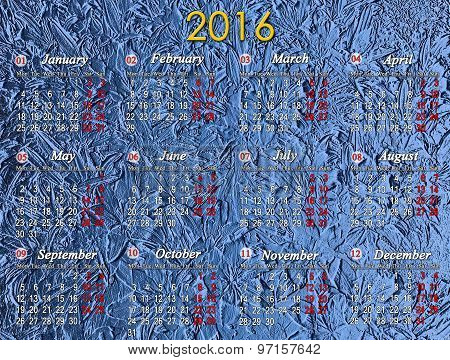 Calendar For 2016 On The Blue Background