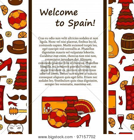 Vector travel europe concept with line background and cartoon drawn objects on Spain theme: flag, bu