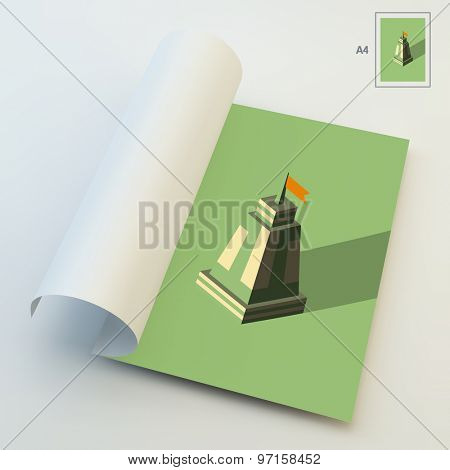 A4 Business Blank. Leader concept. Tower. 3d vector illustration. Can Be Used For Advertising, Marketing, Presentation.