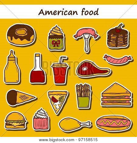 Set of cartoon stickers on american food theme: fried potato, hot dog, soda, hamburger, sandwich. Et