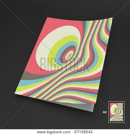 A4 Business Blank. Abstract Striped Background. Optical Art. 3d Vector Illustration. Can Be Used For Advertising, Marketing And Presentation.