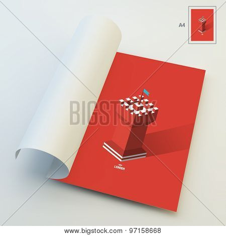 A4 Business Blank. Leader concept. Tower. 3d vector illustration. Can Be Used For Advertising, Marketing and Presentation.