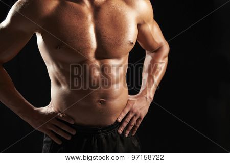 Bare chested male body builder with hands on hips, crop