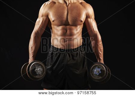 Male bodybuilder working out with heavy dumbbell, crop