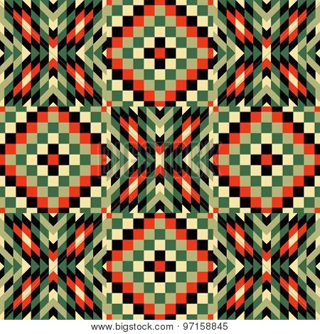Seamless pattern. Mosaic of red, green, olive, black geometric shapes. Patchwork quilt. Template for design and decoration backgrounds, package, covers, textile. Abstract vector illustration.