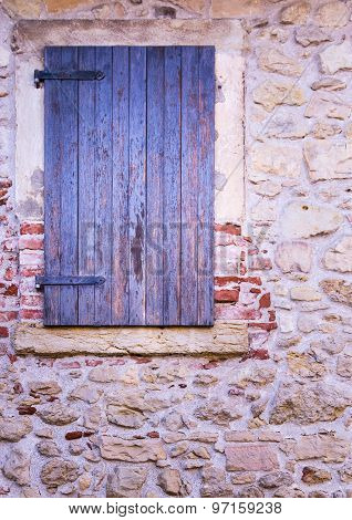 Ancient Stone Window With Wooden Balcony