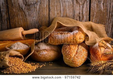 Bread with wheat grains