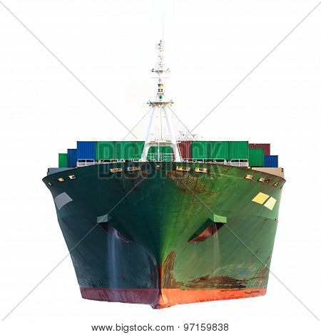 Cargo freight ship with stacked container isolated on white background