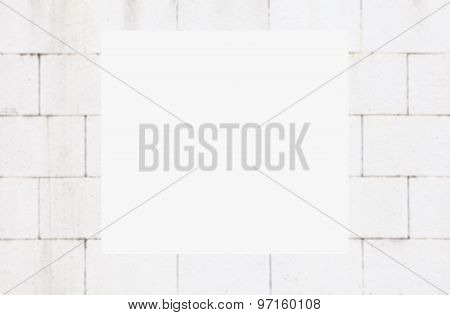 Abstract white square text box on blurred concrete wall background