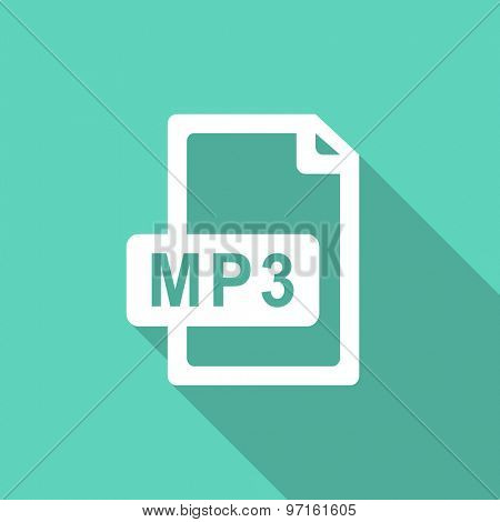 mp3 file flat design modern icon with long shadow for web and mobile app
