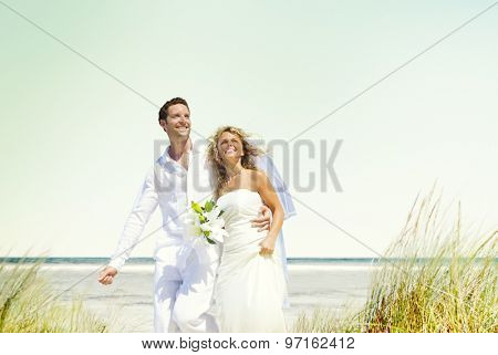 Couple Romance Beach Love Marriage Concept
