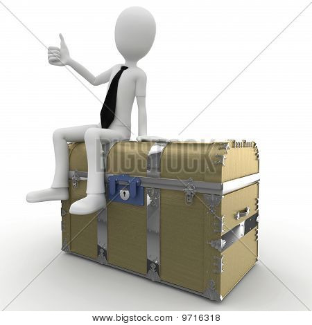 3D Man Sitting On A Treasure Chest