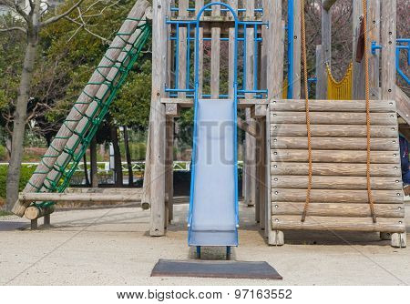 Empty outdoor kid playground equipment at public playground