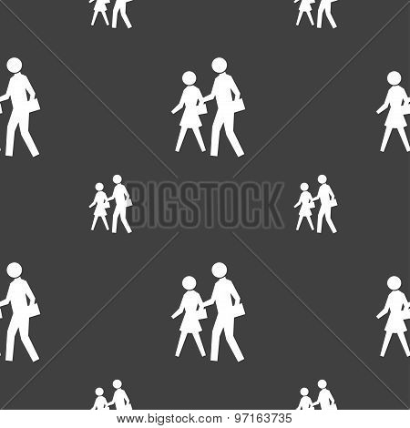 Crosswalk Icon Sign. Seamless Pattern On A Gray Background. Vector