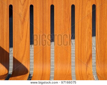The Seat Is Wooden Benches Closeup