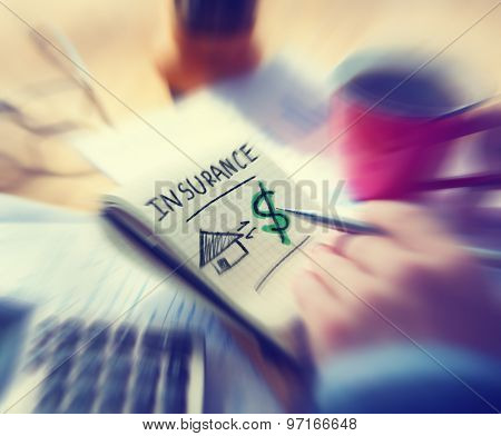 Businessman Working Finance Home Insurance Concept