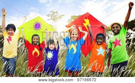 Kids Diverse Playing Kite Field Young Concept