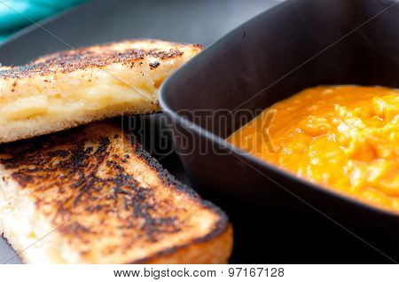 Grilled Cheese Sandwich And Soup