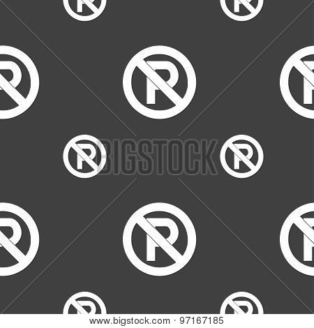 No Parking Icon Sign. Seamless Pattern On A Gray Background. Vector