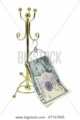 Money Hanging On Coat Rack