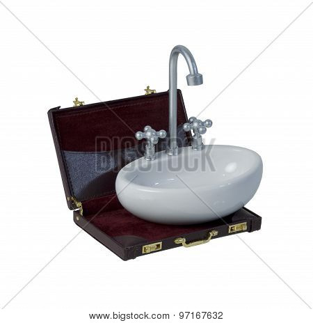Sink With Faucet And Handles In A Briefcase