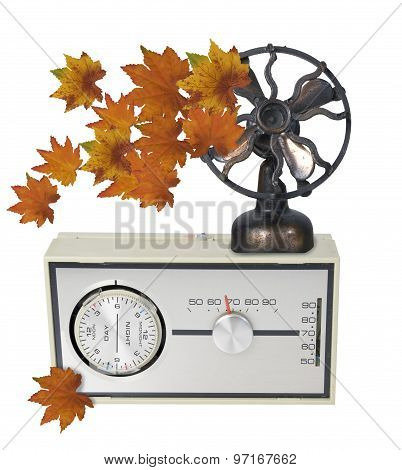 Thermostat Furnace Dial With Leaves And Fan
