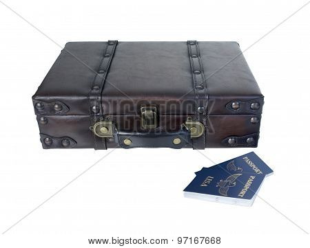 Small Vintage Briefcase With Passports