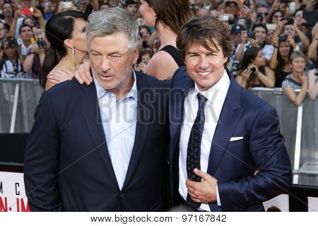 NEW YORK-JUL 27: Actors Alec Baldwin (L) and Tom Cruise attend the US Premiere of 'Mission: Impossible - Rogue Nation' in Times Square on July 27, 2015 in New York City.