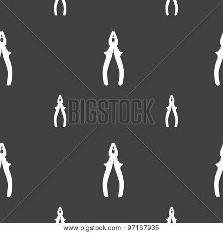 Pliers Icon Sign. Seamless Pattern On A Gray Background. Vector