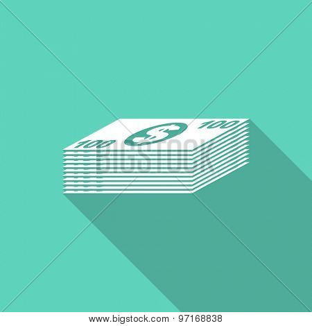 money flat design modern icon with long shadow for web and mobile app