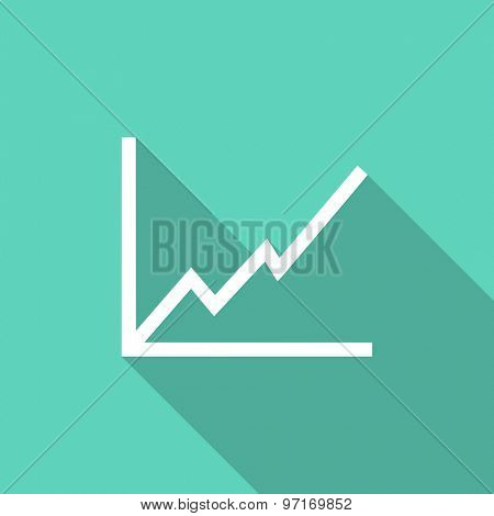 chart flat design modern icon with long shadow for web and mobile app