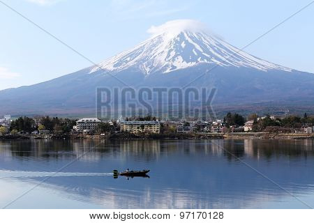 Mount Fuji In Kawaguchiko Lake And Fishing Boat.