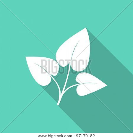leaf flat design modern icon with long shadow for web and mobile app