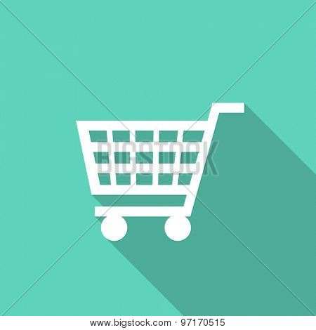 cart flat design modern icon with long shadow for web and mobile app