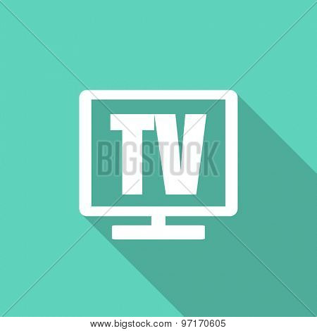 tv flat design modern icon with long shadow for web and mobile app