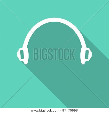 headphones flat design modern icon with long shadow for web and mobile app