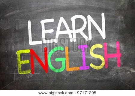 Learn English written on a chalkboard