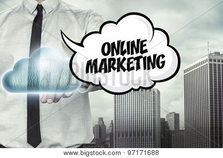 Online marketing text on cloud computing theme with businessman